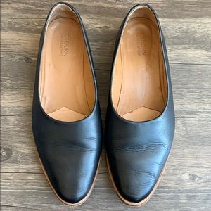 Black leather Osborn flats